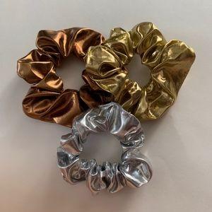 Metallic Scrunchies Bundle Hair Tie Set